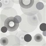 Vliesové tapety na zeď IMPOL Novara 3 paprskovité kruhy šedo-hnědé na bílém podkladu