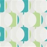 Vliesové tapety na zeď IMPOL Novara 3 korálkový vzor vzor zeleno-tyrkysový s třpytkami