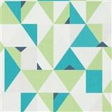 Vliesové tapety na zeď IMPOL Novara 3 geometrický vzor zeleno-tyrkysový