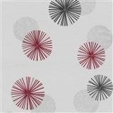 Vliesové tapety na zeď Novara 3 moderní kruhy červené, černé a šedé s lesklými efekty