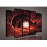Obraz na plátně hvězdné nebe červené 150 x 100 cm