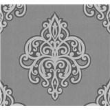 Vliesové tapety na zeď Opal ornament světle šedý na šedém podkladu