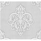 Vliesové tapety na zeď Opal ornament bílý na světle šedém podkladu