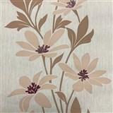 Vliesové tapety na zeď Polar květy béžové s tmavými lístky a lesklými detaily