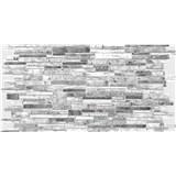 Obkladové 3D PVC panely rozměr 980 x 489 mm, tloušťka 0,4mm, ukládaný kámen šedo-bílý