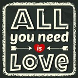 Retro cedule All You Need is Love 30 x 30 cm