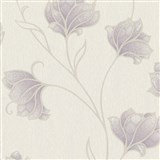 Luxusní vliesové tapety na zeď Spotlight II květy fialové s béžovými konturami na krémovém podkladu