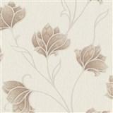 Luxusní vliesové tapety na zeď Spotlight 2 květy hnědé s béžovými konturami na krémovém podkladu