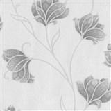 Luxusní vliesové tapety na zeď Spotlight 2 květy šedé se stříbrnými konturami na šedém podkladu