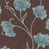 Luxusní vliesové tapety na zeď Spotlight 2 květy tyrkysové s šedými konturami na hnědém podkladu-AKC