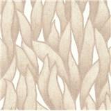 Vliesové tapety na zeď IMPOL Spotlight 3 popínavé listy hnědé na bílém podkladu