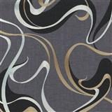 Vliesové tapety na zeď IMPOL Spotlight 3 moderní vlnovky černo-zlaté na šedém podkladu