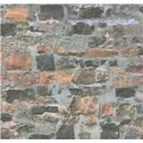 Papírové tapety na zeď Sweet & Cool kamenná stěna hnědo-šedá