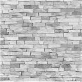 Papírové tapety na zeď - kamenný obklad světle šedý