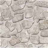 Papírové tapety na zeď - kamenná zeď světle šedá