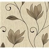 Vliesové tapety na zeď Collection květy tmavě hnědé se třpytkami