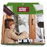 Samolepící těsnění do dveří a oken 6m profil P, těsnění 3-5mm, hnědé