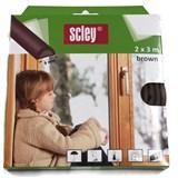 Samolepící těsnění do dveří a oken 6m profil D, těsnění 3,5-6,5mm, hnědé