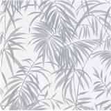 Vliesové tapety IMPOL Timeless listy tmavě šedé na bílém podkladu