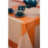 Ubrus metráž káro s ornamenty hnědo-oranžové
