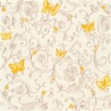 Luxusní vliesové  tapety na zeď Versace III barokní vzor se žlutými motýly stříbrno-béžový