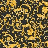 Luxusní vliesové  tapety na zeď Versace III klasický barokní vzor černo-zlatý