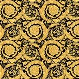 Luxusní vliesové  tapety na zeď Versace III barokní květinový vzor zlato-černý