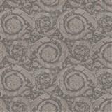 Luxusní vliesové  tapety na zeď Versace III barokní květinový vzor šedo-hnědý
