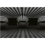 Vliesové fototapety 3D koule stříbrná rozměr 368 cm x 254 cm