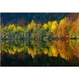 Vliesové fototapety podzimní lesní jezero rozměr 368 cm x 254 cm