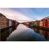 Vliesové fototapety barevné domy v Norsku rozměr 368 cm x 254 cm