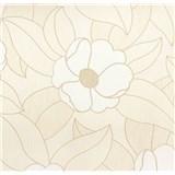 Vinylové tapety na zeď WohnSinn - květy bílé s béžovými konturami