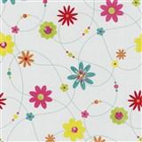 Papírové tapety na zeď X-treme Colors - květiny barevné na bílém podkladu
