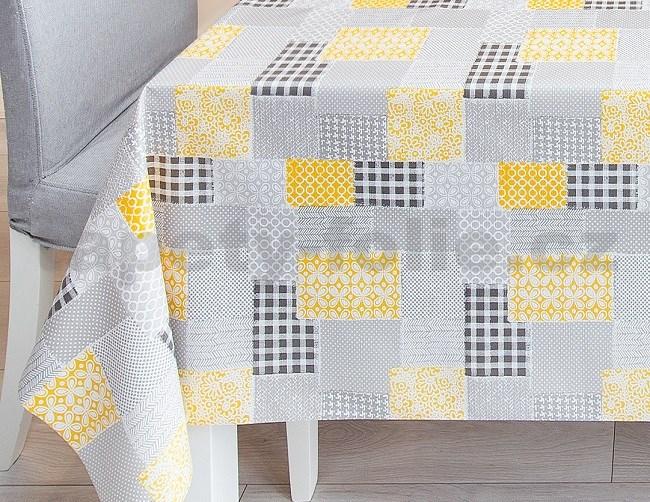 23ae1cdbcba9 Ubrus metráž patchwork šedo-žlutý