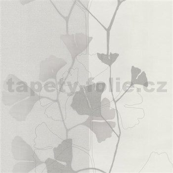 Vliesové tapety na zeď 4ever - listy Ginkgo šedo-stříbrné - SLEVA
