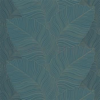 Vliesové tapety na zeď Bali listy zeleno-černé se zlatými konturami