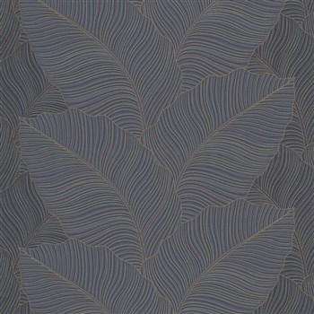 Vliesové tapety na zeď Bali listy šedo-modré se zlatými konturami