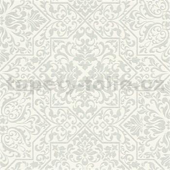 Vliesové tapety na zeď Bali zámecký vzor světle šedý na bílém podkladu