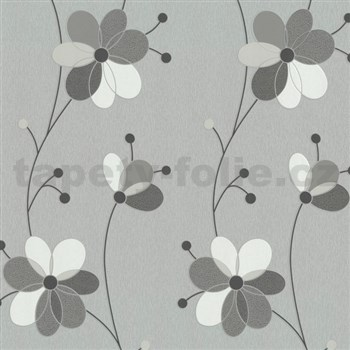 Vliesové tapety Belcanto - květy šedo-hnědé MEGA SLEVA