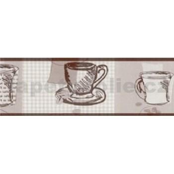 Samolepící bordura - hrníčky hnědé 5 m x 6,9 cm