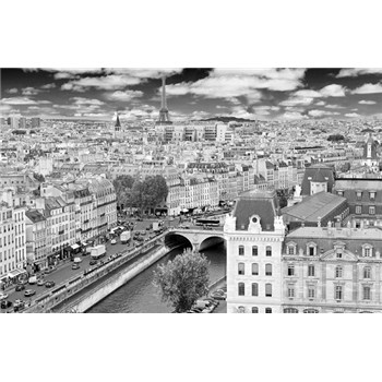 Luxusní vliesové fototapety Paříž - černobílé, rozměr 418,5 cm x 270 cm