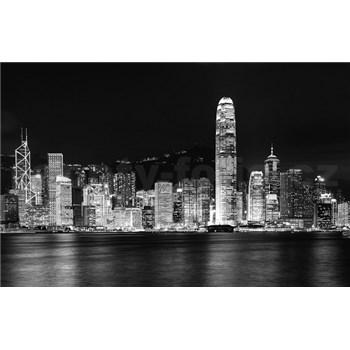 Luxusní vliesové fototapety Hong Kong - černobílé, rozměr 418,5 cm x 270 cm