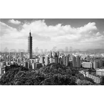 Luxusní vliesové fototapety Taipei - černobílé, rozměr 418,5 cm x 270 cm