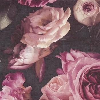 Vinylové tapety na zeď Opus květinová kompozice růžová na tmavém pozadí
