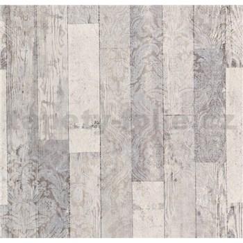 Vliesové tapety na zeď Einfach Schoner 3 dřevěné desky světle šedé s bílými ornamenty
