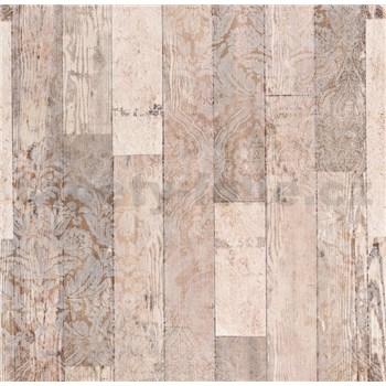 Vliesové tapety na zeď Einfach Schoner 3 dřevěné desky světle hnědé s bílými ornamenty