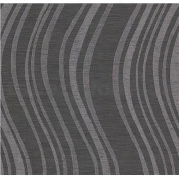 Vliesové tapety na zeď Einfach Schoner 3 vlnovky stříbrné na černém podkladu