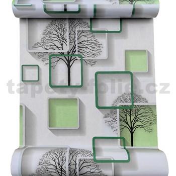 Samolepící fólie stromy s rámečky s 3D efektem zelené 45 cm x 10 m