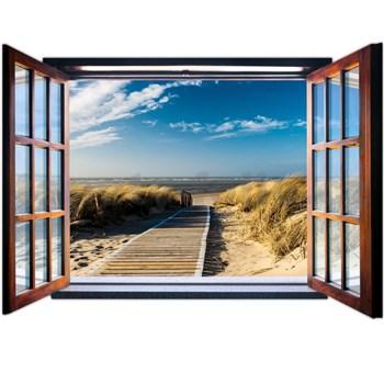 Vliesové fototapety výhled z okna na pobřeží rozměr 368 cm x 254 cm