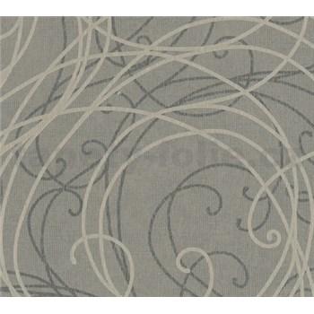 Luxusní vliesové tapety na zeď Merino ornamenty na metalickém šedém podkladu